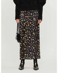 Never Fully Dressed Esme High-waist Space-print Satin Midi Skirt - Black