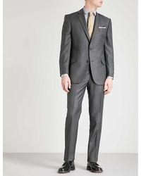 Richard James Men's Charcoal Sharkskin-weave Slim-fit Wool Jacket - Grey