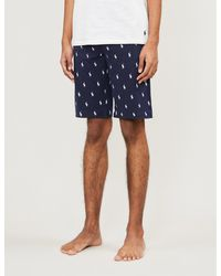 Polo Ralph Lauren Cotton-jersey Logo-print Pyjama Shorts - Blue