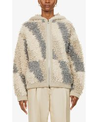 Stella McCartney Hooded Graphic-print Knitted Jacket - Natural