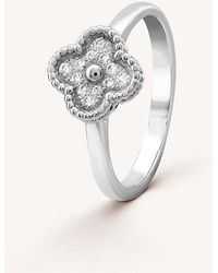 Van Cleef & Arpels - Sweet Alhambra White-gold And Diamond Ring - Lyst