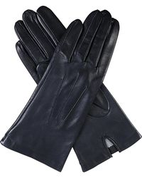 Dents Women's Blue Classic Silk-lined Leather Gloves