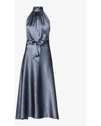 HARMUR Halterneck Silk-satin Midi Dress - Blue