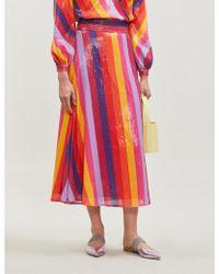 Olivia Rubin Penelope High-waist Striped Sequinned Midi Skirt - Red
