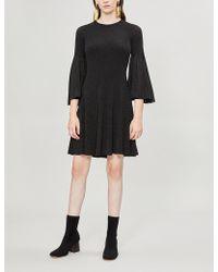 Pringle of Scotland - Flared-sleeve Metallic Knitted Dress - Lyst