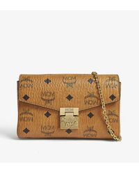 MCM Brown All-over Print Logo Printed Leather Clutch Bag
