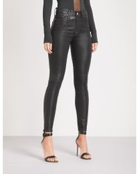 GOOD AMERICAN Good Legs Waxed Coated Skinny High-rise Jeans - Black