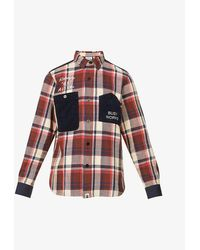 A Bathing Ape Checked Graphic-print Cotton Shirt - Red