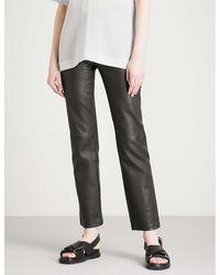 JOSEPH Den Straight Stretch-leather Pants - Black