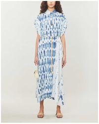 Nanushka Hanna Tie-dyed Cotton Midi Dress - Blue