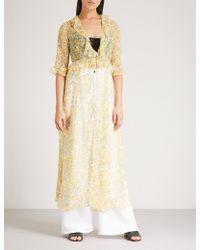 We Are Leone Ruby Floral-print Silk-chiffon Maxi Jacket - Yellow