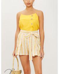 Three Graces London Jola Linen-blend Shorts - Yellow