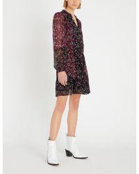 PAIGE - Sonoma Floral-print Frilled-neck Silk Dress - Lyst