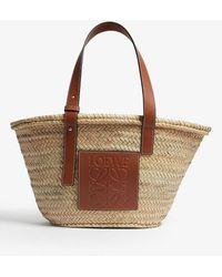 Loewe Medium Leather-trimmed Woven Raffia Tote - Brown