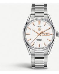 Tag Heuer Women's Steel Carrera Calibre 5 Day-date Watch - Metallic