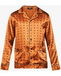 MCM Brand-print Relaxed-fit Stretch-silk Shirt - Orange