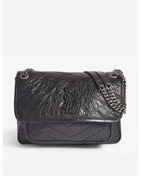 Saint Laurent Niki Medium Leather Cross-body Bag - Black