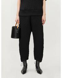 Issey Miyake Harem Wide-leg High-rise Woven Trousers - Black