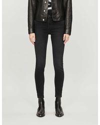 Whistles Sculpted High-rise Stretch-denim Jeans - Black