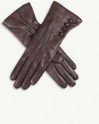 Dents 4-button Leather Gloves - Brown