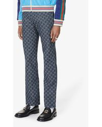 Gucci Monogram-pattern Slim-fit Jeans - Blue