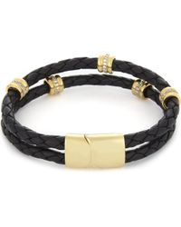 Nialaya - Braided 18ct Gold-plated Leather Bracelet - Lyst