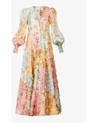 Zimmermann Tempo Floral-print Linen And Silk-blend Gown - Multicolour