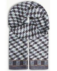 Eton of Sweden - Geometric Print Silk Scarf - Lyst