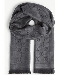 Gucci GG Pattern Wool Scarf - Gray