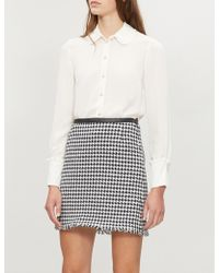 Claudie Pierlot - Houndstooth-patterned A-line Cotton-blend Skirt - Lyst