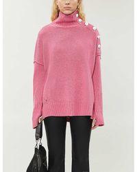 Zadig & Voltaire Alma Button-trimmed Cashmere Jumper - Pink