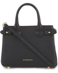 Burberry - Banner Check Leather Tote - Lyst