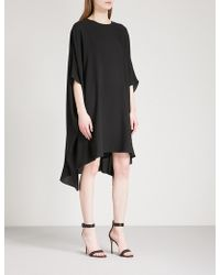 St. John - Asymmetric-hem Silk-crepe Dress - Lyst