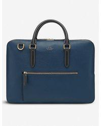 Smythson Ludlow Slim Leather Briefcase - Blue