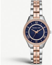 Michael Kors Mk3929 Lauryn Two-tone Stainless Steel And Pave Embellished Watch - Blue