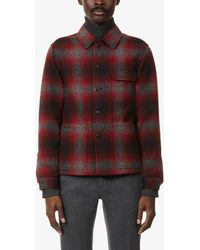 Slowear Checked Long-sleeved Wool Overshirt - Red