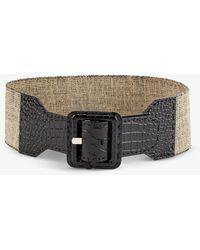 Max Mara Elcocco Stretch-cotton And Crocodile-embossed Leather Belt - Black