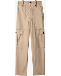 Zadig & Voltaire Pilote Bord Patch-pocket Cotton Cargo Trousers - Natural