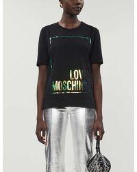 Love Moschino Logo-print Cotton-jersey T-shirt - Black