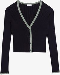 Claudie Pierlot Miki V-neck Ribbed Knitted Cardigan - Blue