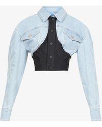 Mugler Contrast-panel Cotton-blend Denim Jacket - Blue