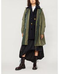 Sacai Underlay-detail Oxford-cotton Coat - Multicolor