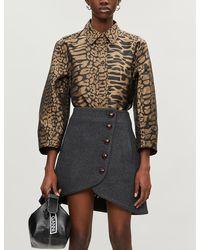 Ganni Leopard-print Satin-crepe Shirt - Black