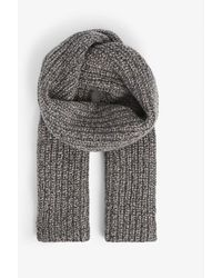 Johnstons Donegal Ribbed Cashmere Scarf - Gray