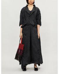 Issey Miyake Pleated Cropped Woven Jacket - Black