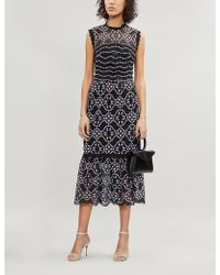Sandro Embroidered-lace Floral Dress - Black