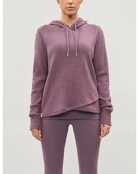 Lorna Jane Relaxed-fit Waffle-knit Cotton-blend Hoody - Purple