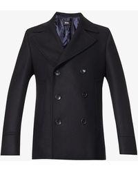 BOSS by HUGO BOSS Double-breasted Wool-blend Coat - Blue