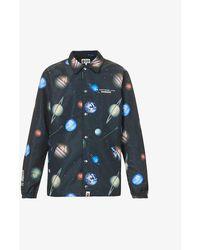 A Bathing Ape Galaxy Planet-print Shell Coach Jacket - Black