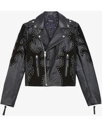 The Kooples Studded Leather And Suede Biker Jacket - Black